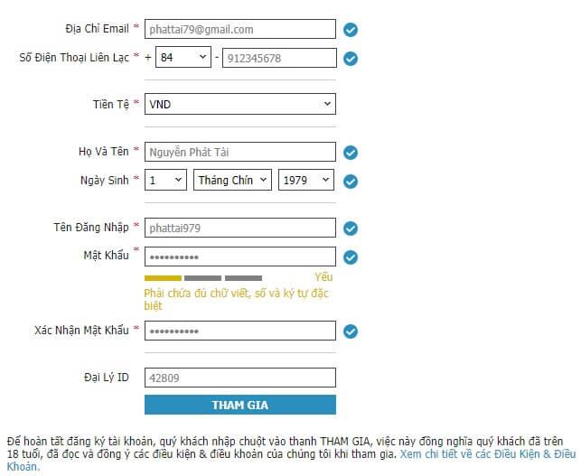 Hướng dẫn đăng ký tài khoản cá độ w88love